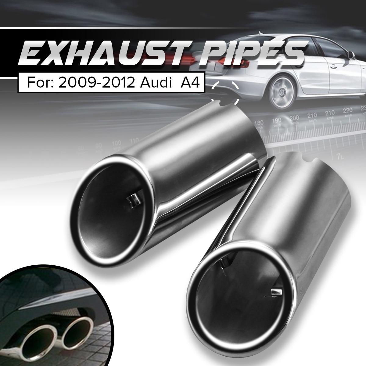 BIOENGIE 2 x Stainless Steel Chrome Exhaust Tail Muffler Tip Pipe Black