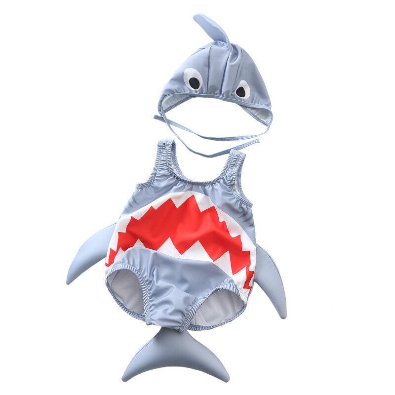 2PCS Toddler Baby Girl Boy Swimwear 3D Shark Costume Swimsuit 2019 New Brand Sleeveless   Rompers   Sunsuits