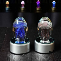 Glass Jellyfish Paperweight Crystal Ball Feng Shui Crafts Multicolored Home Decoration Blue Terrarium Figurines Accessories