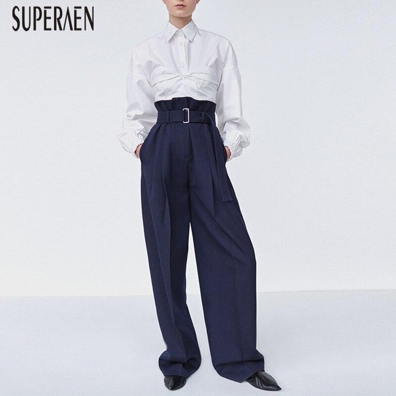 SuperAen 2018 Spring and Autumn Europe Women Long   Pants   Wild Cotton Casual High Waist Sashes Women Casual   Pants     Wide     Leg     Pants