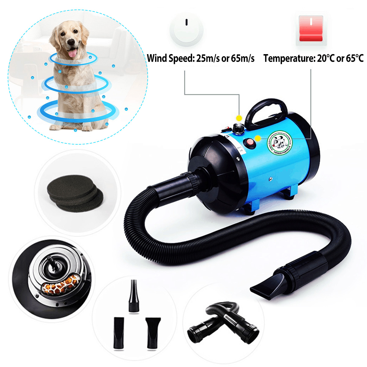 Adjustable Dog Grooming Dryer Pet Hair Dryer Strong Power Low Noice Blower 220v 2800W Eu Plug Pink Black Blue Color