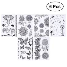 23607ca6e840c 6pcs Temporary Tattoo Elephants Disposable Wind Chimes Dandelion Body  Paints Flash Tattoo for Leg Wrist Ankle Chest Back