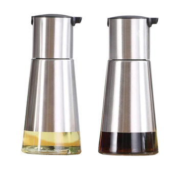 Controllable Oil And Vinegar Dispenser 2 Packs, Kitchen Glass Olive Oil Bottle Set, Stainless Steel No Drip Design Small (320m image