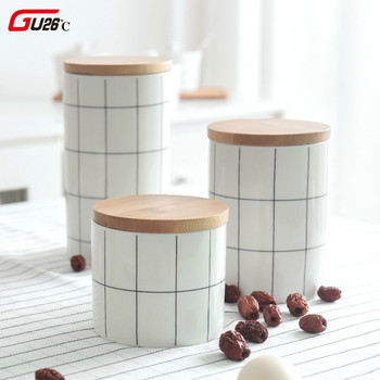 Round Plaid Sealed Ceramic Storage Jar For Spices Tea Coffee Can Tank Food Container Bottle With Lid For Kitchen Organizer 1