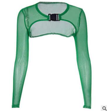 ITFABS kobiety siatki kabaretki Crop Top z długim rękawem bluza z kapturem T-Shirt Clubwear topy