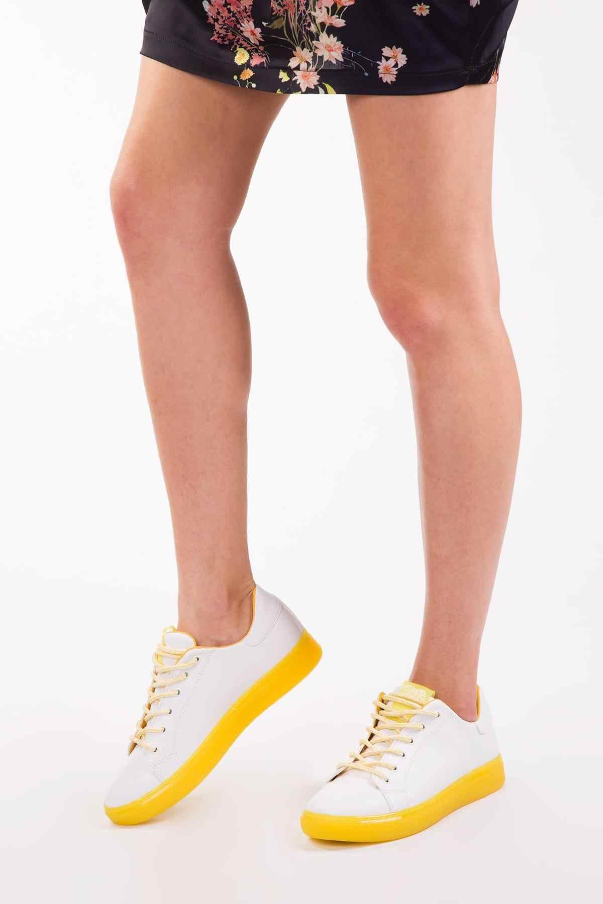 SOHO Casual Neon Yellow Platform Women Sneaker Fashion Lace-up Flat Vulcanized Sports Shoes 12919