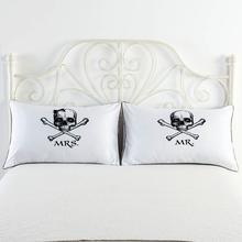 MR / MRS White Skull Couple Pillow Case Throw Pillowcases Lovers Gift 1 piece Slip Bedding Decorative Home Textile