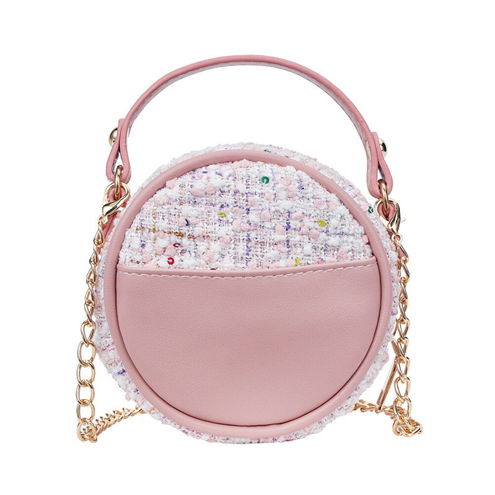 Fashion Zipper Circle Purse Clutch Heart-shaped Bow Pink Girl Love Round Shoulder Cross-body Bag Tote Handbag Canvas Messenger Purse Wallet