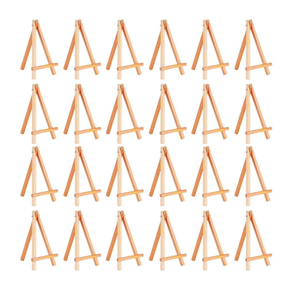 Paquet de 24 Mini chevalets daffichage en bois Set de chevalets en bois pour peintures artisanat petits projets dhuile acryliquesPaquet de 24 Mini chevalets daffichage en bois Set de chevalets en bois pour peintures artisanat petits projets dhuile acryliques