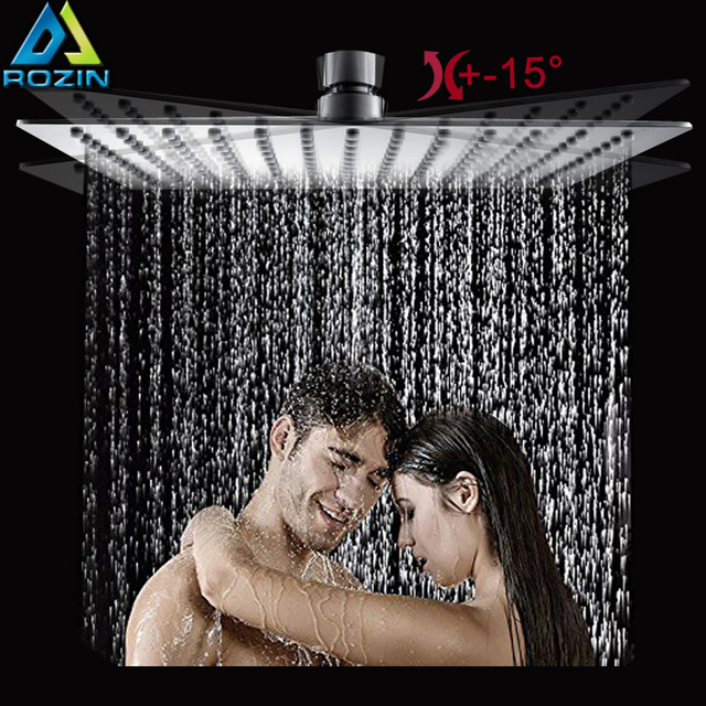 "Stainless Steel Ultrathin Shower Head 16"" Rainfall Shower Faucet Head Chrome Bathroom Large Flow Showerhead Faucet Accessory"