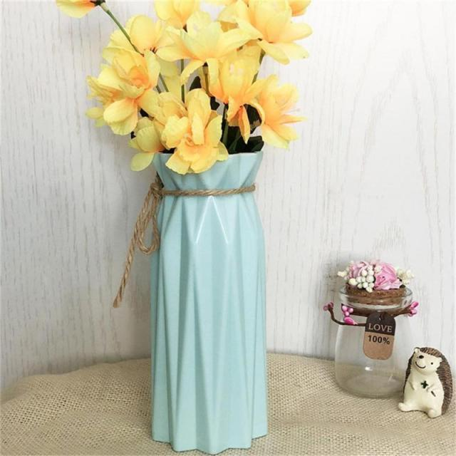 Origami Plastic Vase Imitation Ceramic Flowerpot Flower Basket Artificial Flower Arrangement Container Home Wedding Decoration