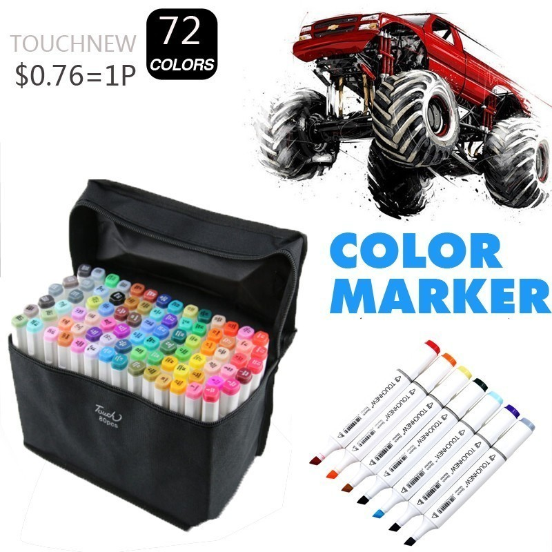 TOUCHNEW Six-generation marker pen set double head alcohol oily hand-painted poster color 6 generation