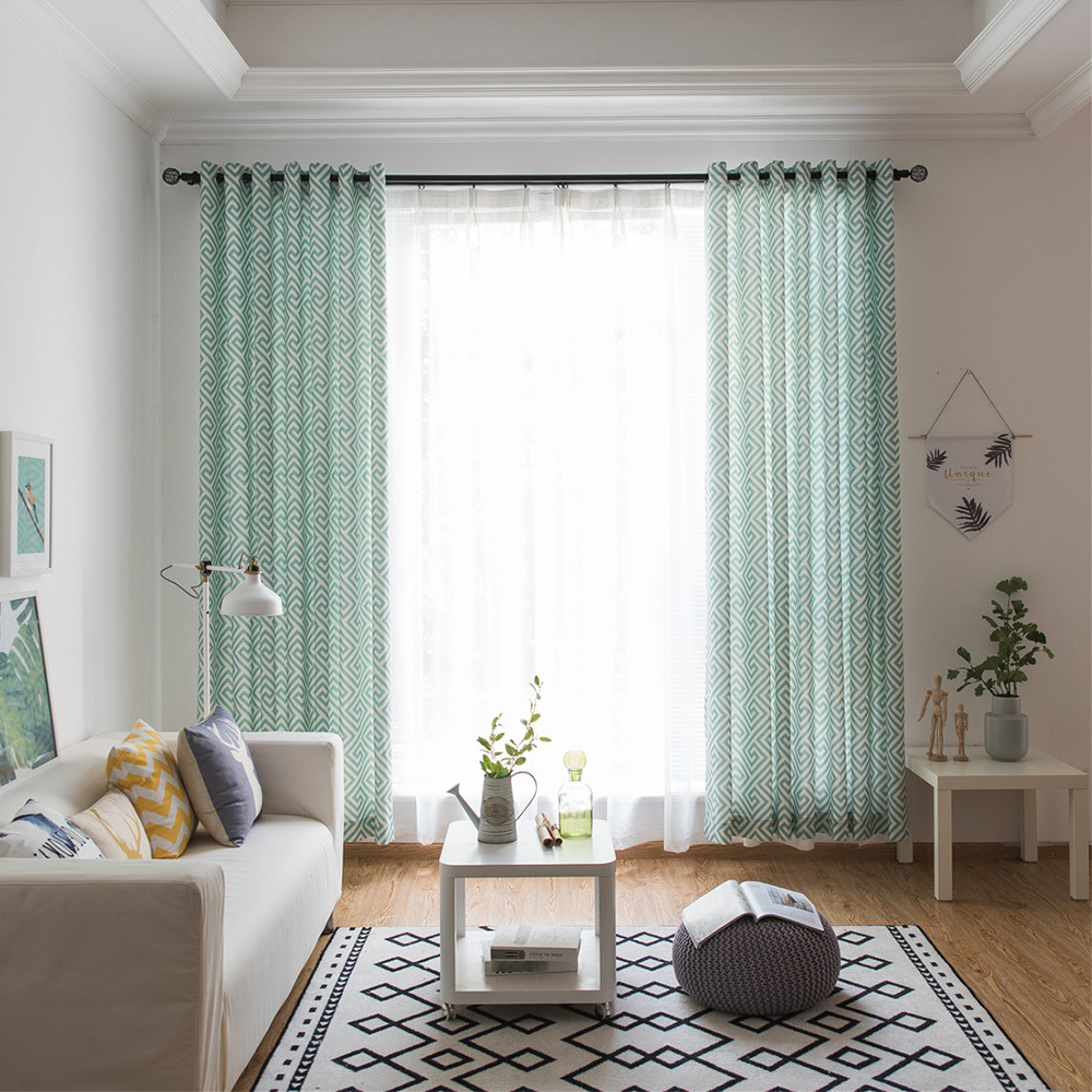 Curtain For Balcony: Modern Blackout Curtain Maze Printing Pattern Decorative