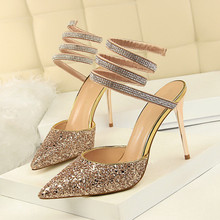 Fashion Women Sandals High Heels Ladies Summer Shoes Thin Heel Ladies Dress Wedding Pointed Toe Bling Gold Silver Shoes DS-A0269 new women sexy party sandals high heel wedding pointed toe lace thin heels black green pink summer lady female shoes ds a0323