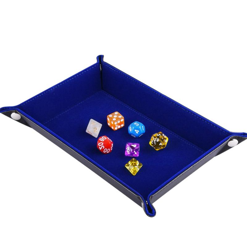 Dice Tray PU Leather Folding Rectangle Tray Velvet Dice Holder for Chess Table Games and Storage #CW|Storage Boxes & Bins| |  - title=