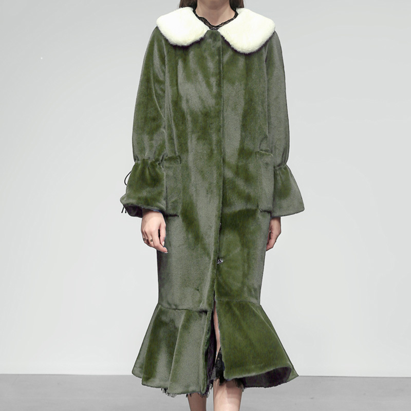 2019 Printemps Couvert Le754 Long Couleur Femme eam De Poisson Fourrure Blanc Ourlet Longue Queue Hiver Amovible Green Manteau Vert Flare Bouton Manches q5dxS