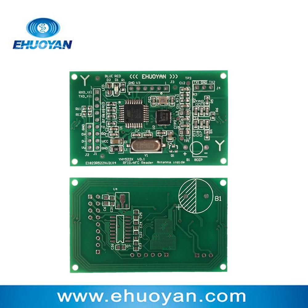 Anti-geklonte UID M1-Karte 13,56 MHz 14443 A RFID-NFC-Lese- / Schreibmodul 2,7-3,6 V UART YHY522 + SDK + 2 Tags