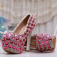 Розовый Голубые свадебные туфли со стразами роскошные Обручение вечерние высокие каблуки туфли невесты 14 см на очень высоком каблуке Золуш