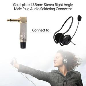 Image 3 - 3.5mm Stereo 90 Degree Right Angle Male Plug Gold plated Stereo Headphone Adapter Instruments Soldering Connector Converter
