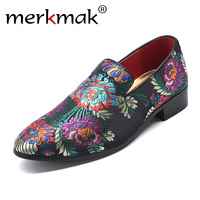 Fashion Pointed Toe Dress Shoes Embroidery Men Loafers Oxford Shoes Formal Marriage Wedding Shoes Slip On Party Shoes Bi