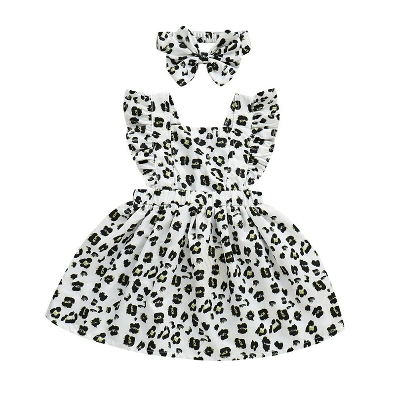 Toddler Kid Baby Girl Summer Sleeveless Ruffle Leopard Party Dress Sundress 2PCS
