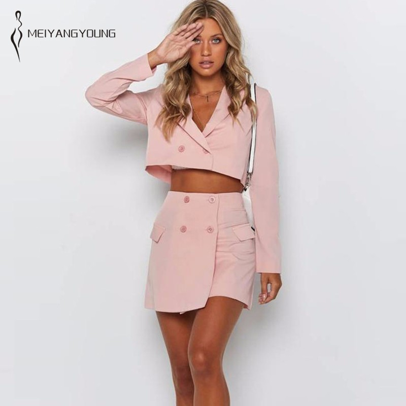MEIYANGYOUNG Womens Two Piece Sets Summer 2019 Pink Color 2 Set Long Sleeve Tops Suit With Skirt Outfits