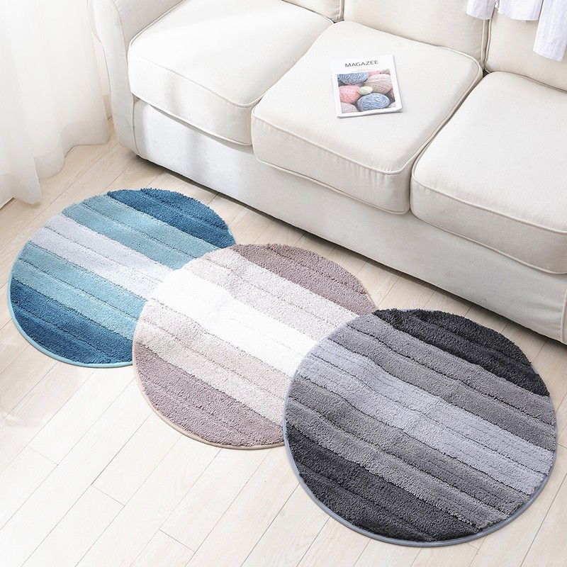 Non Slip Round Spa Mat Rugs Soft Microfiber Striped Plush Water Absorbent Washable Floor Area Rug For Living Room