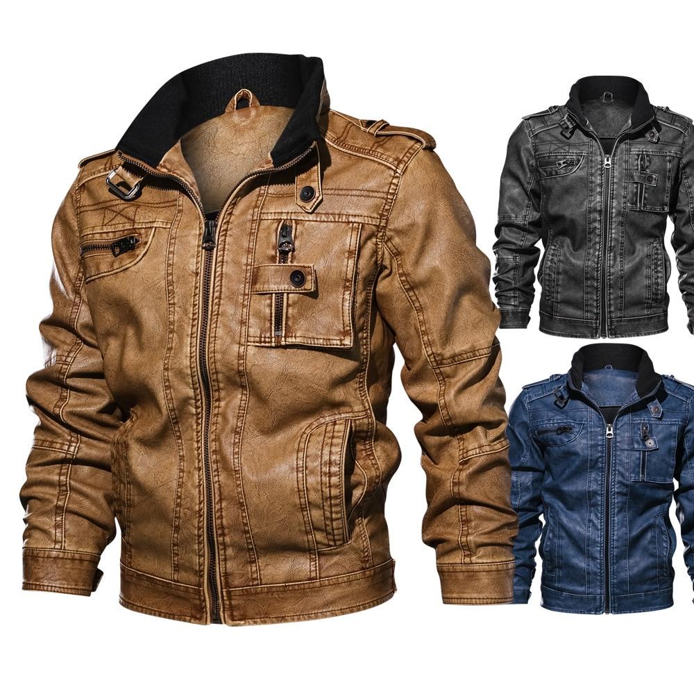Męska motocykl PU skórzana kurtka sprężyna wysokiej jakości zima Slim Fit kurtki mężczyźni kowbojskie kurtki mężczyzna biznes płaszcze casualowe 7XL w Płaszcze ze sztucznej skóry od Odzież męska na  Grupa 1