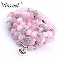 108 бусины натуральный розовый камень браслет Мода Ом кулон Strand мала для мужчин браслеты или цепочки и ожерелья Исцеление йогой женщи
