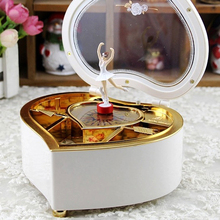 White Heart Shape Music Box Love Fashion Jewelry Storage Rotary Dance Doll Gift Decoration for Girls