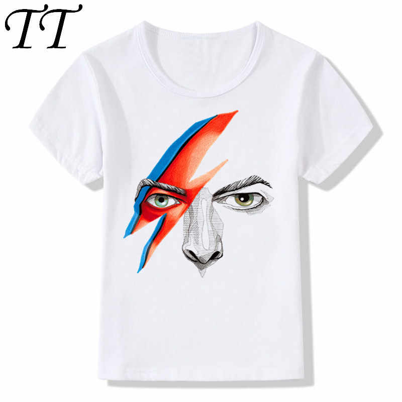 423156d42a3f2c Boy and Girl Print Rock Bowie David Bowie Ziggy Stardust Vintage Fashion T- shirt Children