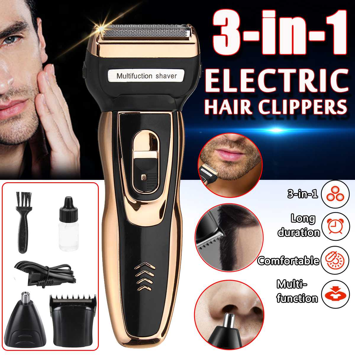 3 In 1 Electric Shaver Rechargeable Men Electric Shaver Grooming Beard Trimmer Reciprocating Hair Clippers Nose Trimmer Portable