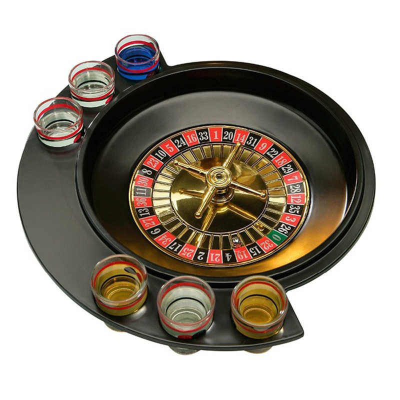 Novelty Gifts Russian Lucky Shot Party Games Roulette Drinking Game With 6 Glass Spin Wheel Portable Board Game For 2-3 Player