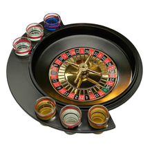 Novelty Gifts Russian Lucky Shot Party Games Roulette Drinking Game With 6 Glass Spin Wheel Portable Board For 2-3 Player