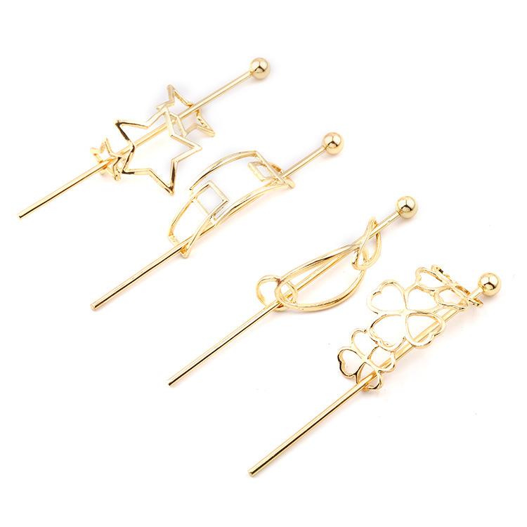 Gold Color Metal Clip Hair Pin Clasp European And American Metal Simple Arrow Hair Stick Hairpin