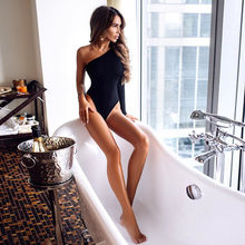 Fashion Women Long Sleeve One Shoulder Bodysuit Black Solid Sexy Tops Stretch