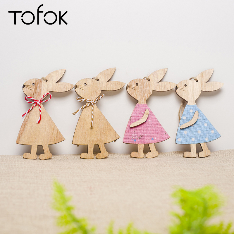 Tofok Wooden 1pc Easter Rabbits Eggs Pendants Festival Happy Easter Decorations for DIY Home Bunny Egg Hanging Ornament Supply