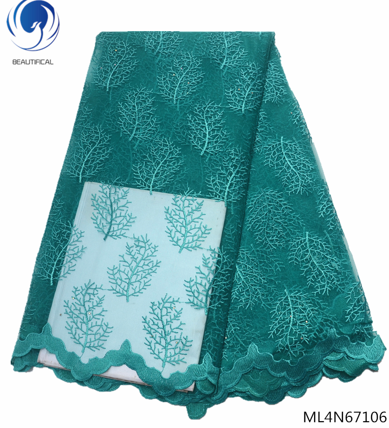 Beautifical french tulle lace fabrics nigerian 2019 african green with rhinestones 5yards/lot ML4N671