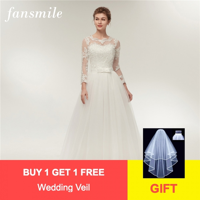 ec97f4e1cb4 Fansmile Real Photo Simple A Line Lace Wedding Dress Long Sleeve 2019  Customized Plus Size Wedding Gowns Vestidos Novia FSM-380F
