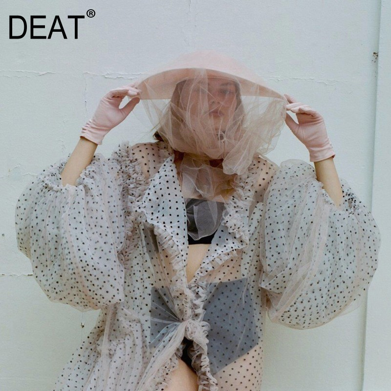 DEAT 2018 New Summer V collar Long Lantern Sleeve White POLKA Dots Printed Perspective Big Size