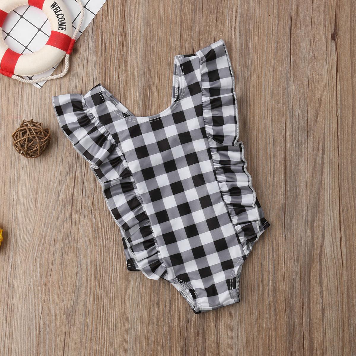 Newborn Toddler Baby Girl Swimwear Ruffle Plaid One Piece Swimsuit Black Bathing Suit Swiming Suit