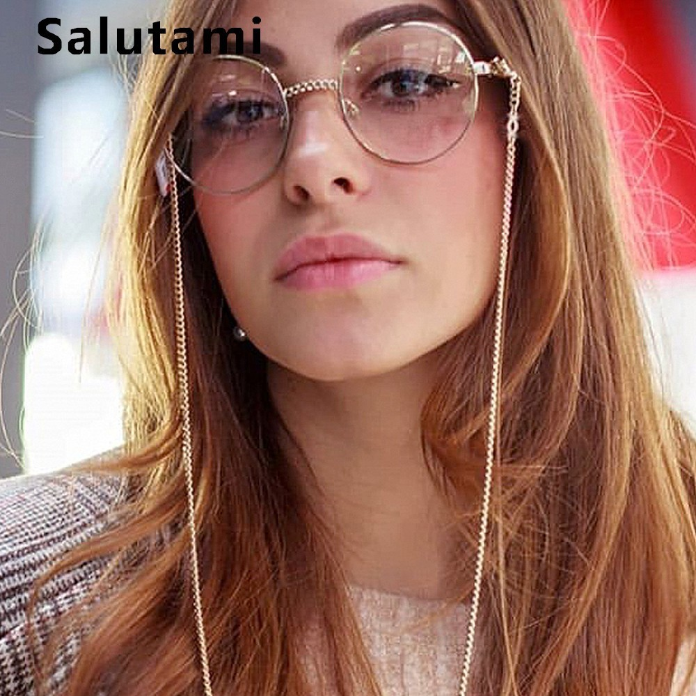 Alloy Chain Frame Sunglasses For Women Metal Hollow Out Clear Lens Round Eyeglasses Female Sexy Sun Glasses Frame Men Oculos