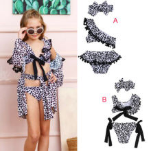 Hot Sale Kid Girl Swimwear Toddler Kids Girls Leopard Swimsuit Two-pieces Bikini Set Beachwear Cover-ups