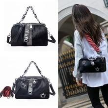 [Telastar] Horse Hair Female Bag Soft Leather Shoulder Bag Vintage Messenger Bag Chain Shoulder Boston Handbag Fur Bag Winter
