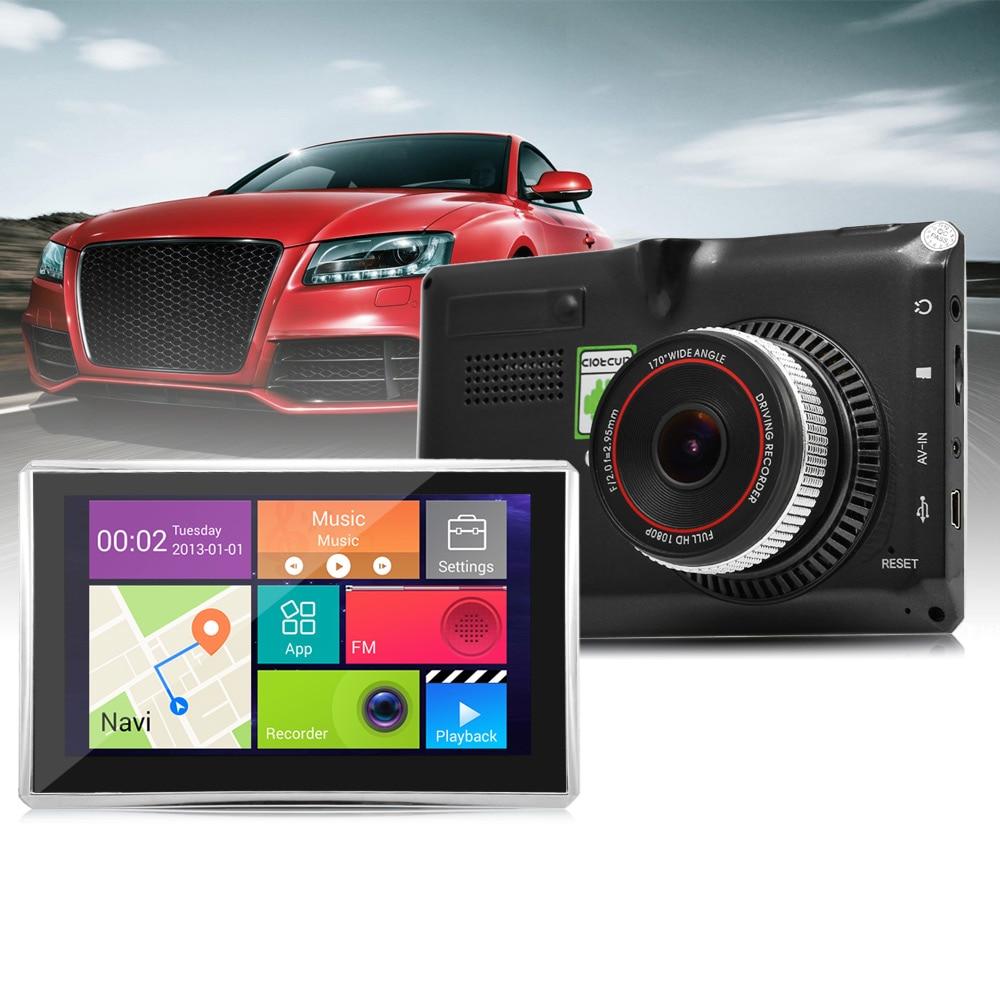 5 pouces Android voiture GPS Navigation170 degrés grand Angle 1080 P voiture DVR lecteur multimédia WiFi FM véhicule GPS carte européenne