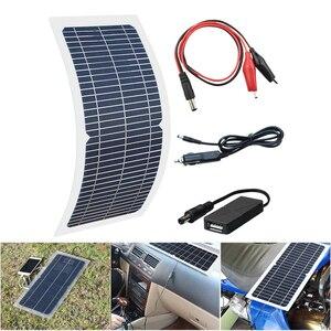 Image 4 - 18 v 10 ワット単結晶ソーラーパネル + 10A 充電コントローラバッテリー充電器キット + led ライト rv 車ボート観光ソーラーランプ 3 ワット