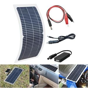 Image 4 - 18V 10W Monocrystalline 솔라 패널 + 10A 충전 컨트롤러 배터리 충전기 + LED RV 자동차 보트 관광 태양 램프 3W