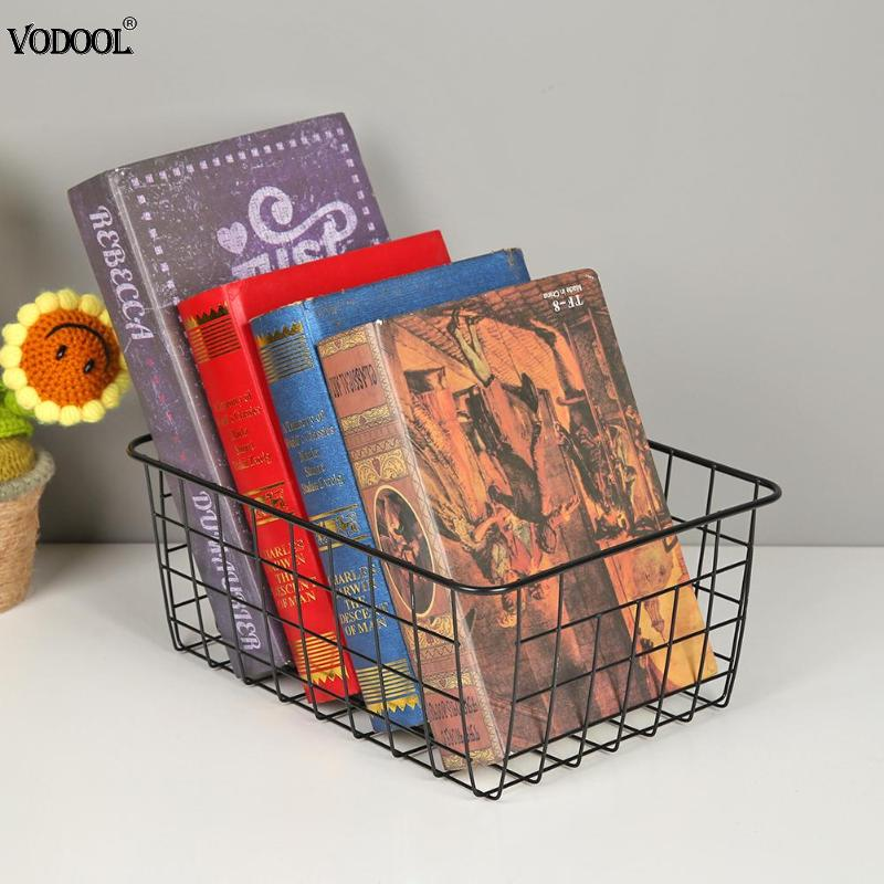 Solid Iron Desktop Stationery Holder Organiser Storage Art Wrought Storage Basket Metal Organizer Holder Sundries Container