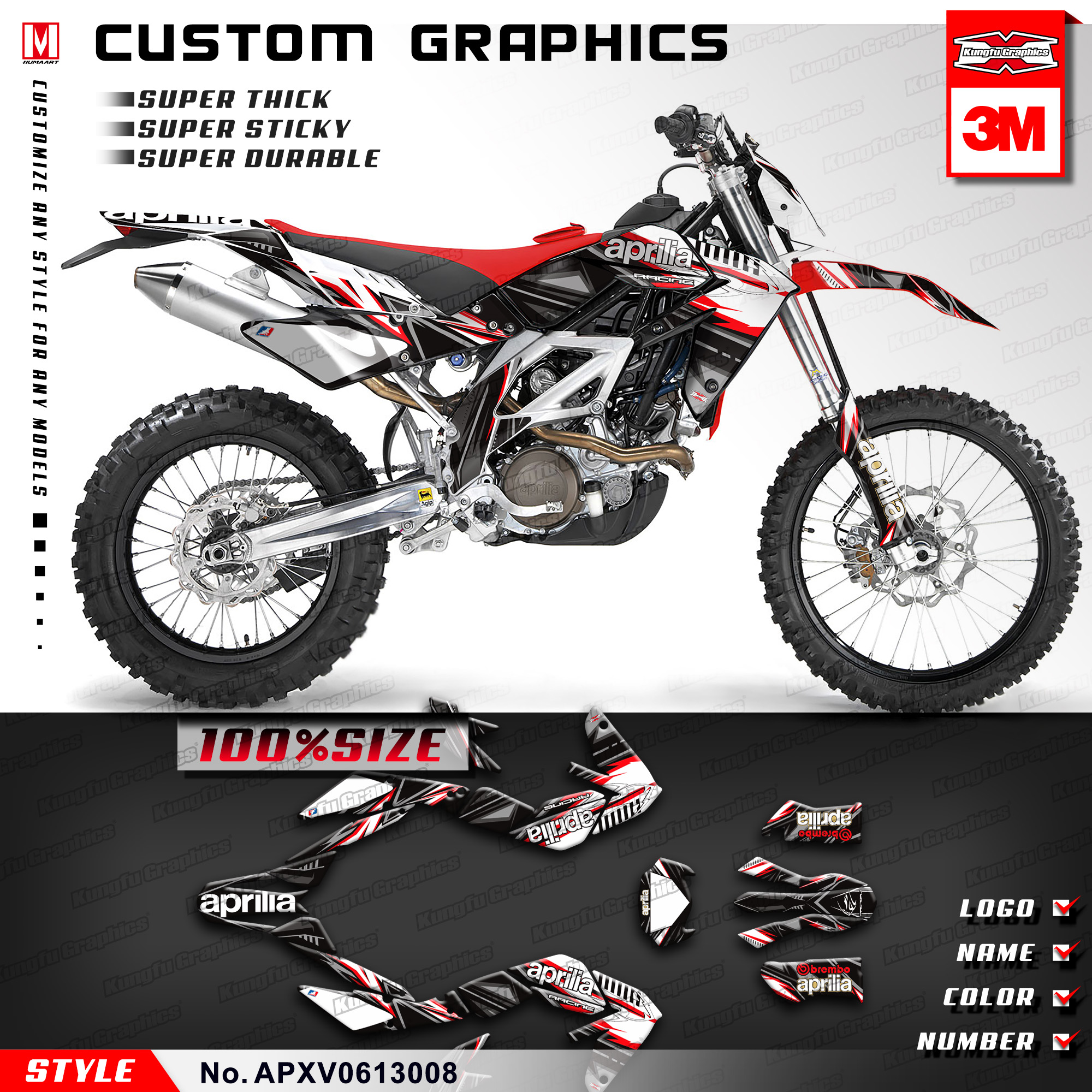 KUNGFU GRAPHICS Custom Vinyl Decals Fit Aprilia SXV RXV 450 550 2006 2007 2008 2009 2010