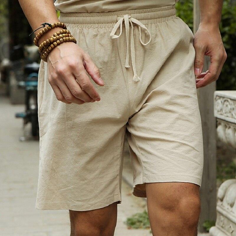 2019 Linen Shorts Men Big Tall Summer Plus Size 6XL 7XL 8XL 9XL 10XL Elastic Waist Casual Flax Bermuda Male Beach Linen Clothes